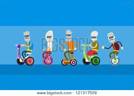 Senior Man Woman Group Ride Motor Scooter