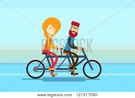 Couple Man Woman Ride Tandem Bicycle