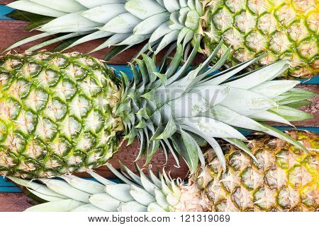Three Pineapple Fruits Close Together