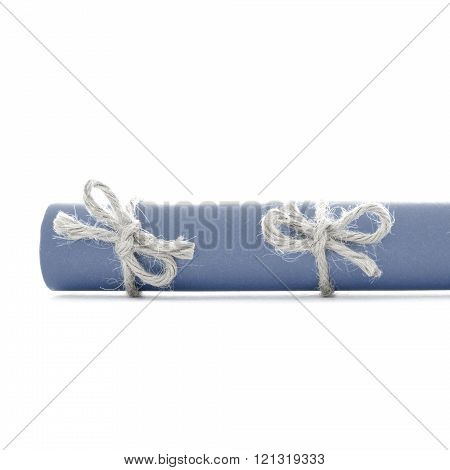 Natural Handmade Rope Knots Tied On Blue Paper Scroll Isolated