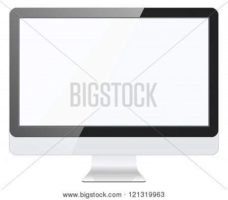 Illustration of modern computer monitor with blank screen. Isolated on the white background