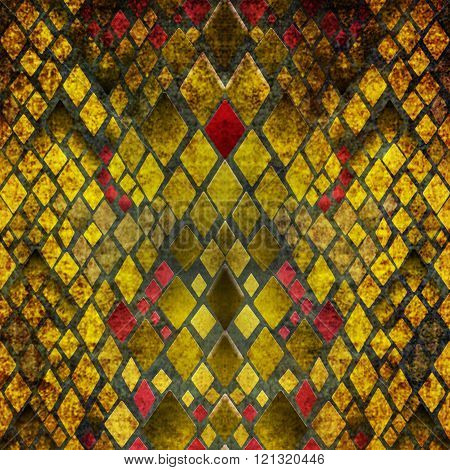 Pattern of yellow and red snake skin grunge print background