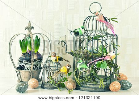 Easter Decoration Eggs, Birds, Hyacinth Flowers Vintage