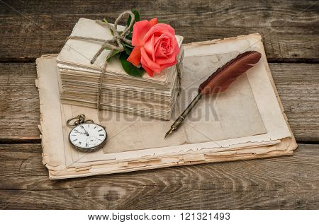 Old Love Letters And Red Rose Flower