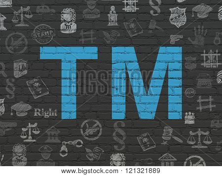 Law concept: Trademark on wall background