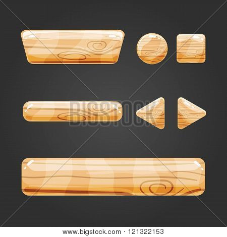 Set Of Wooden Button For Game Design-4