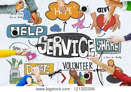 Service Server Support Utility Aid Assistance Care Concept