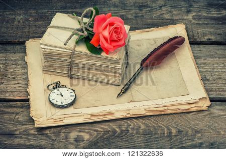 Love Letters And Pink Rose Flower. Vintage Toned Picture