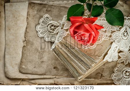 Old Love Letters, Red Rose Flower, Vintage Lace