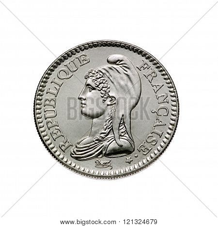 coin 1 franc in white background
