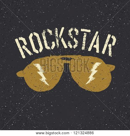 Sunglasses with thunderbolt. Rockstar tee print design template