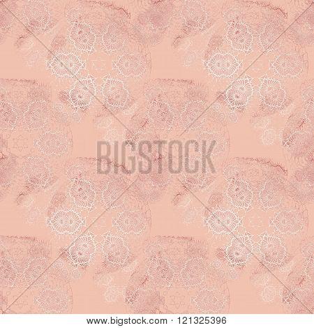 Seamless floral pattern pink white