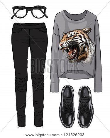 Lady fashion set of autumn, spring season outfit. Illustration stylish and trendy clothing. Cardigan