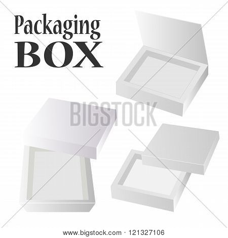 Open Box For Candy Or Your Idea. Set Of White Boxes On White Background