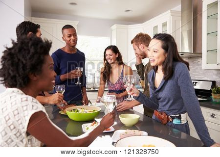Group Of Friends Enjoying Pre Dinner Drinks At Home