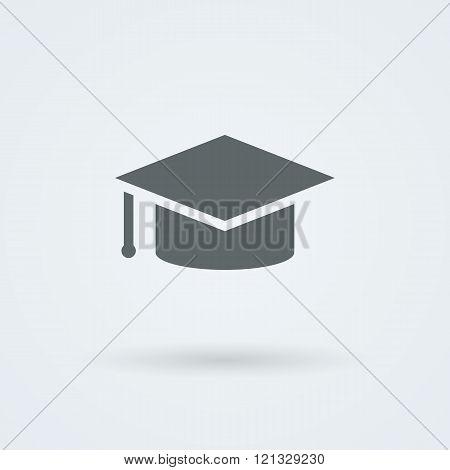 Vector graduation cap icon. Flat design style.