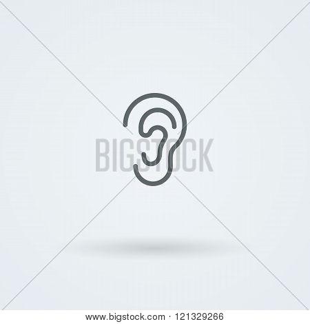 Stock minimalist icon ear.