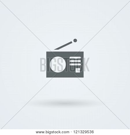 Minimalistic Vector icons with a vintage radio.