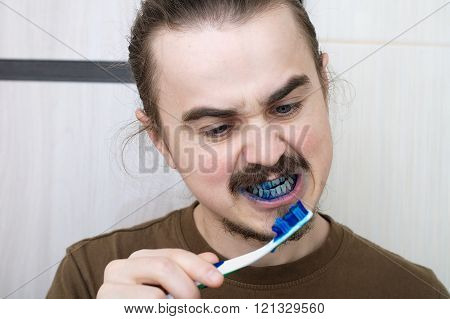 April joke by coloring tooth brush