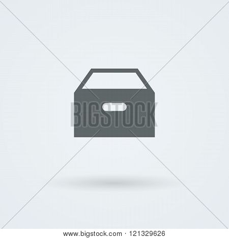 Vector icon with paper drawer.