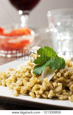 Curly Pasta With Pesto Sauce