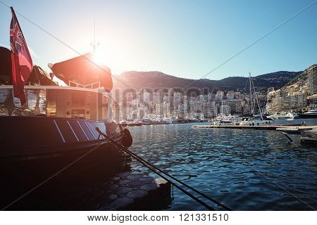 Dark Boat In Bay Of Monte Carlo