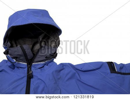 a detail of blue waterproof breathable paddling jacket with a hood, isolated on white