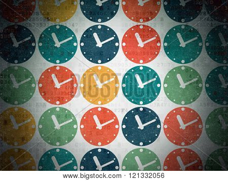 Time concept: Clock icons on Digital Paper background