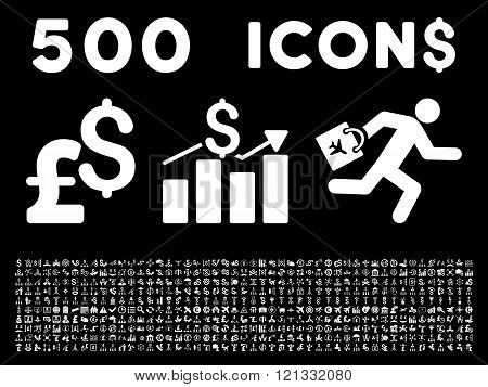 500 Flat Glyph Business Icons
