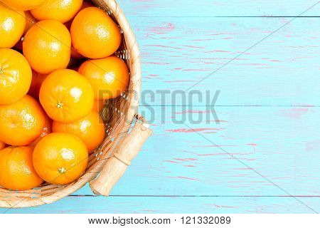 Top Down View Of Clementines With Copy Space