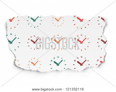 Time concept: Clock icons on Torn Paper background