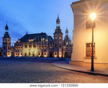 Bishops Palace and lantern in Kielce, in the evening.