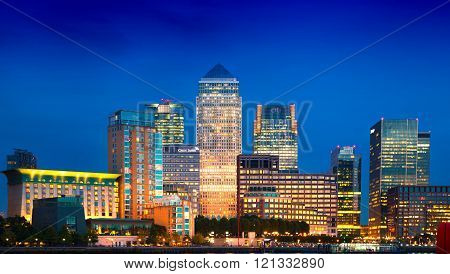 Canary Wharf business and banking district night lights