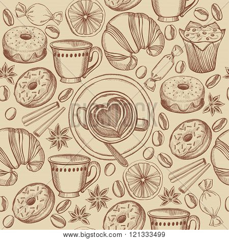 Coffee and croissant seamless pattern background vector.