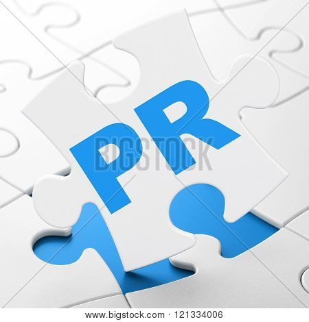 Advertising concept: PR on puzzle background
