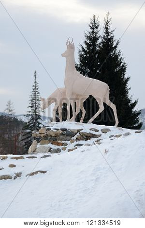 Belokurikha/Russia - January 2016: Sculpture of deer around the resort polyclinic in the heart of the resort city of Belokurikha Altai Krai Russia.