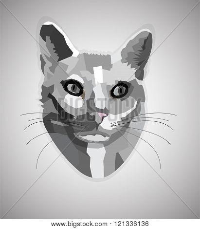 Pop art grayscale cat.