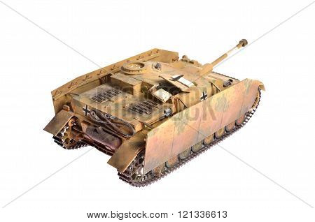 Scale model of a German WWII tank over white background