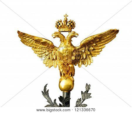 Golden Russian two-headed eagle isolated on white background
