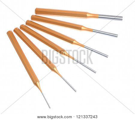 Special screwdriver set with yellow handles isolated over white.