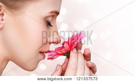 Beauty Natural  Young Girl With Flower Pink Gerbera