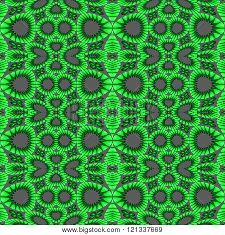 Seamless circles and ellipses pattern green gray