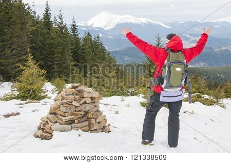Hiker On The Mountain Top