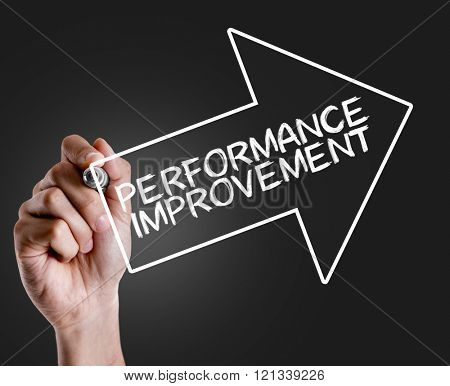 Hand writing the text: Performance Improvement
