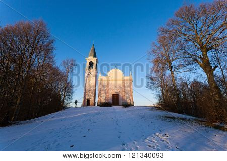 Front view of a church. Italian panorama from