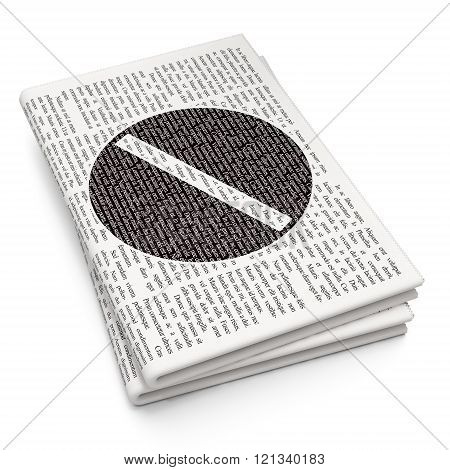 Health concept: Pill on Newspaper background