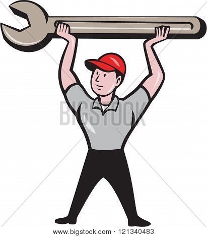 Mechanic Lifting Wrench Isolated Cartoon