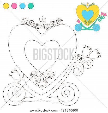 Coloring Book Or Page Cartoon Illustration Carriage Princess For Children Education.  Vector To Be T