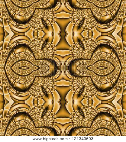 Seamless ellipses pattern gold brown