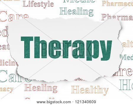 Medicine concept: Therapy on Torn Paper background